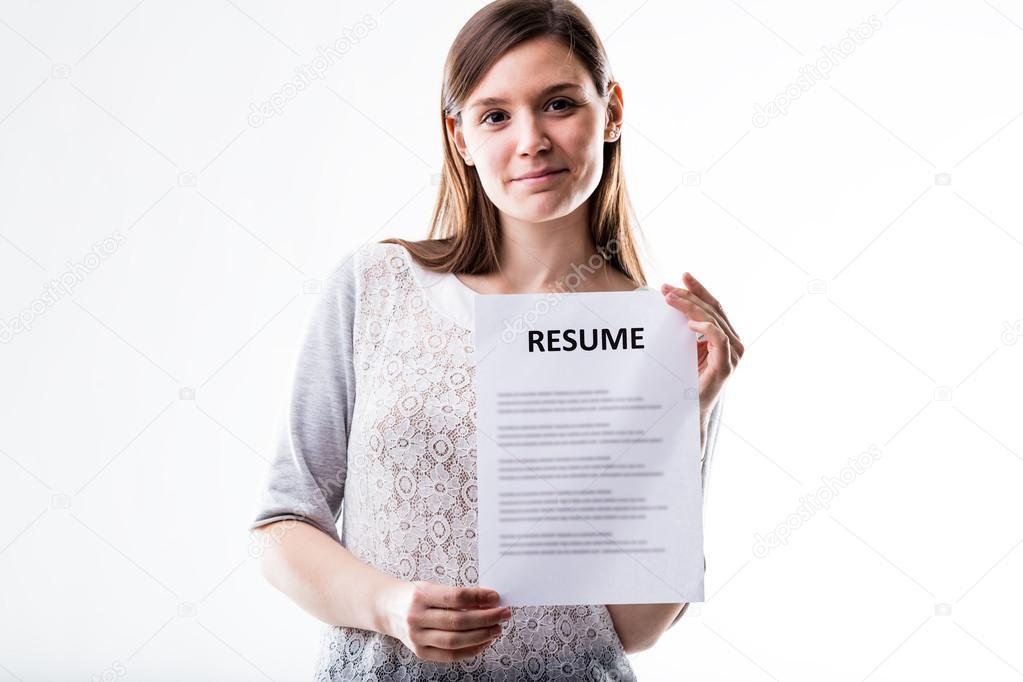 joven, mostrando su currículum vitae — Foto de stock ...