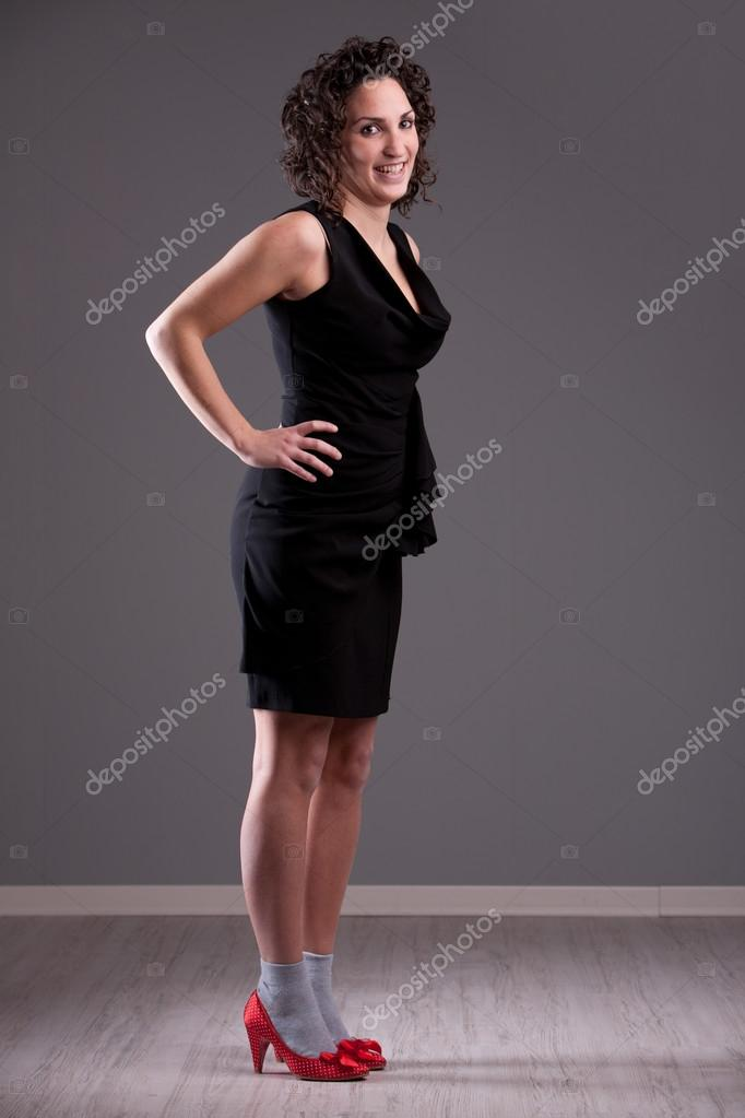 Woman In Grey Socks And Red Shoes Stock Photo Giuliofornasar