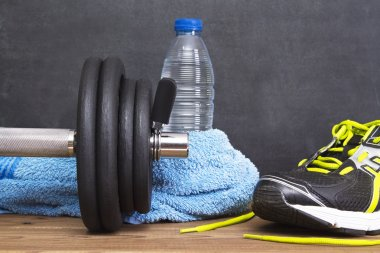 Dumbbell and water