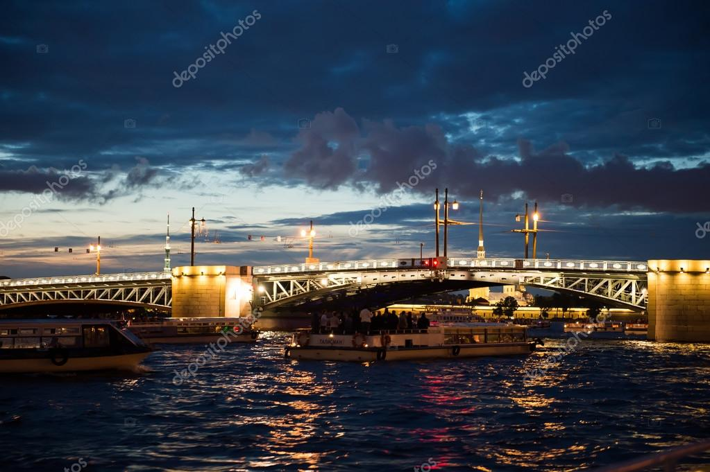 City of St. Petersburg, night views from the motor ship 1194.