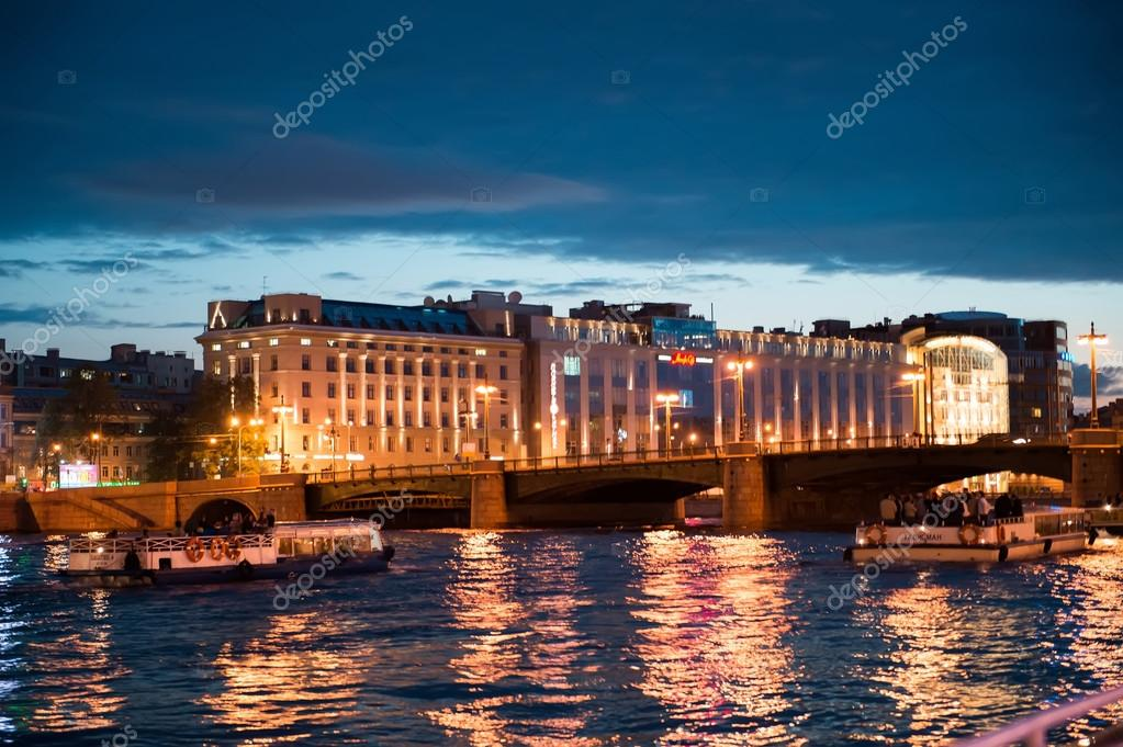 City of St. Petersburg, night views from the motor ship 1205.