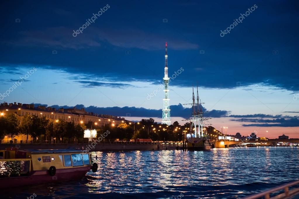 City of St. Petersburg, night views from the motor ship 1208.