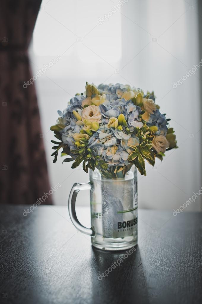 Bunch of flowers in a beer mug 2900. — Stock Photo © alena_zamotaeva ...