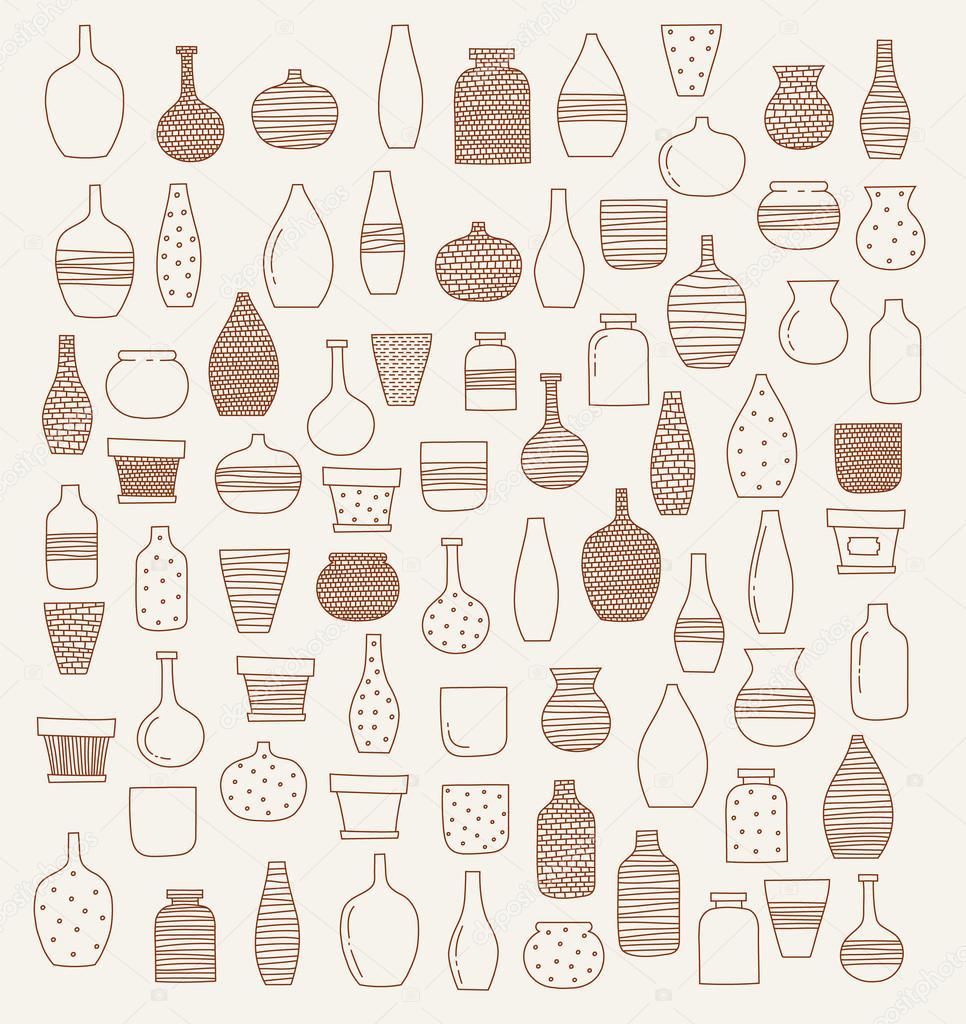 Doodle de jarrones y flores dise o vector de stock - Jarrones de diseno ...