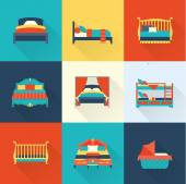 Photo Vector bed icon set
