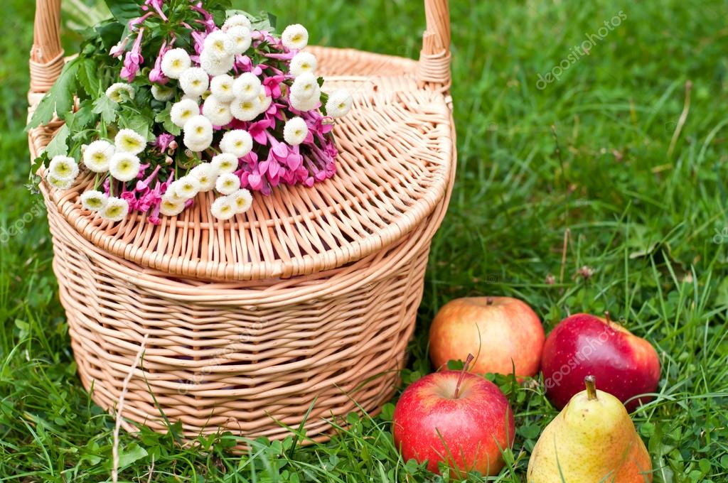 Picnic basket and bright apples on the grass