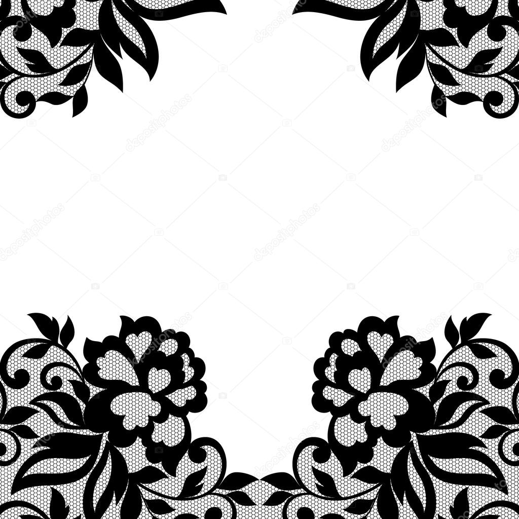 Black flower lace ornament.