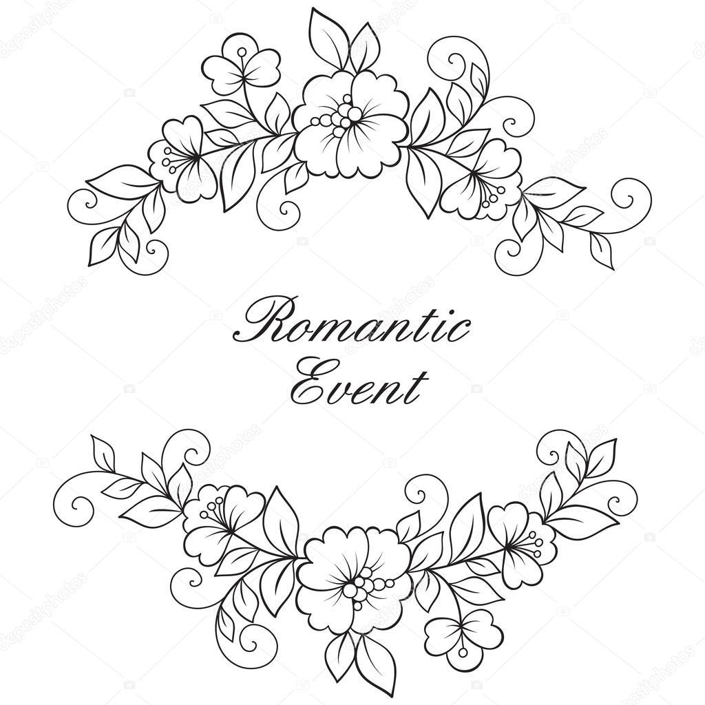 Flower vector ornament frame.