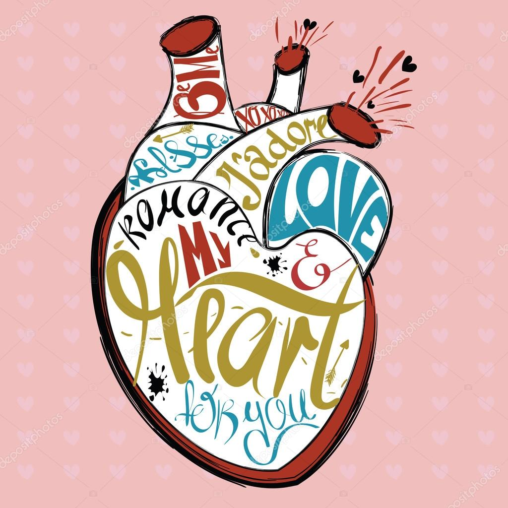 Valentines Day greeting card with real heart sketch with