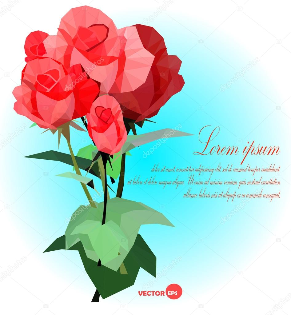 Set of red roses with leaf and stems  Vector illustration for card, banners, posters.