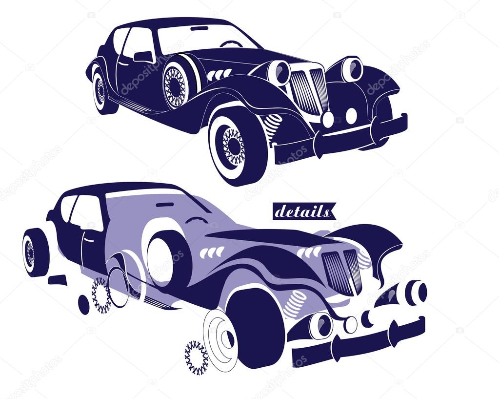 Front and side view retro car and view of details parts of the ...