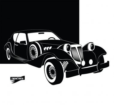 Auto vintage and luxury. Retro black car out of the darkness garage. Monochrome style for design signboard, poster, flyer, print, event card. Vintage cars vectors. Car rental and service sign