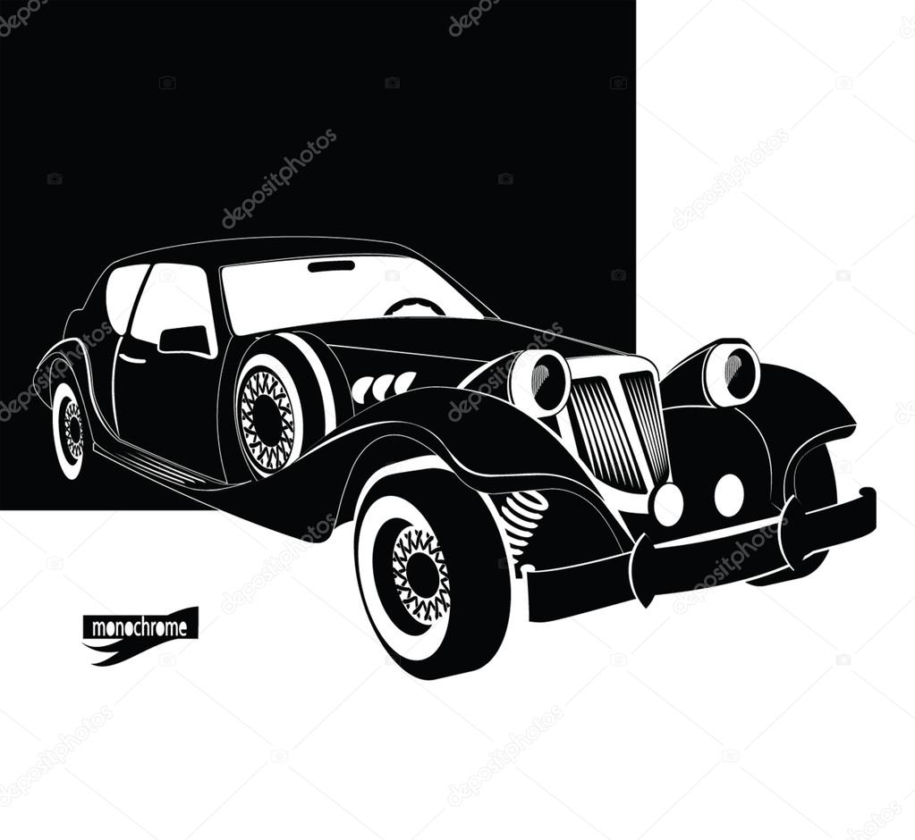 Auto vintage and luxury. Retro black car out of the darkness garage ...