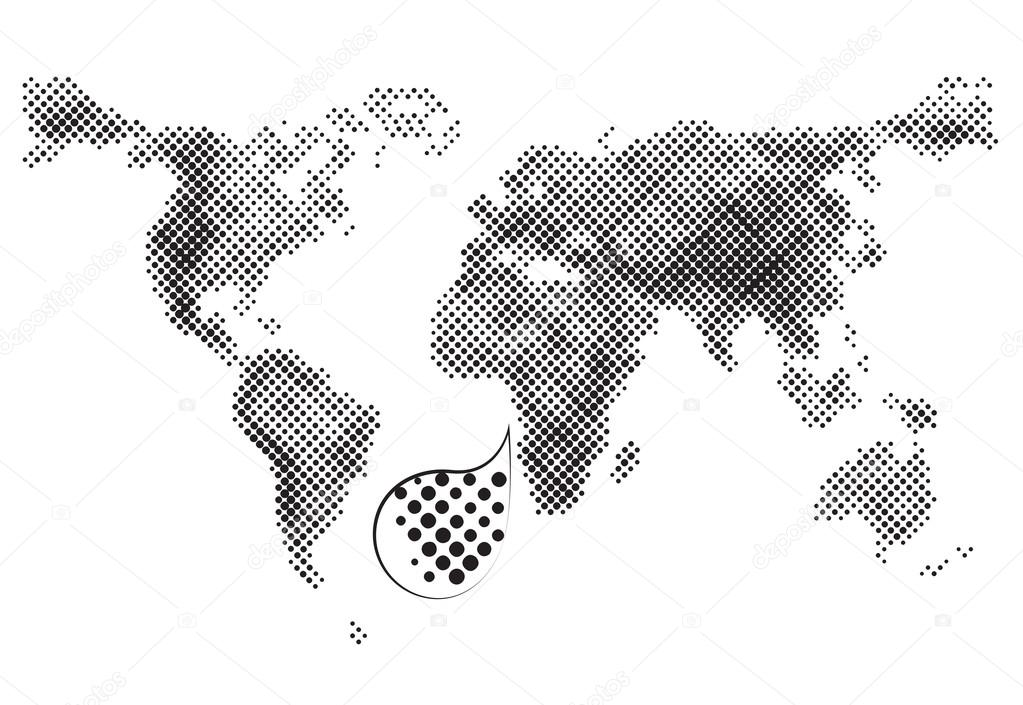 Grey dotted world vector map on white background, geographic ...