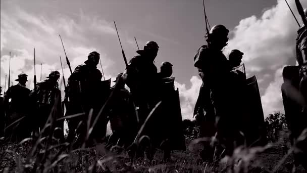 historical army gladiator troop walking in slow motion going to war