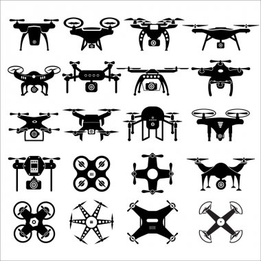 Black and white drones set