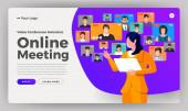 Ilustrace plochý design koncepce videokonference. online schůze pracovní formulář domů. Volejte a živě. Vektorový obrázek.