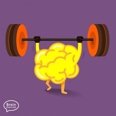 Brain character with dumbbell