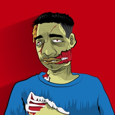 Zombie portrait on red