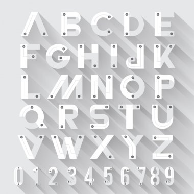 Alphabet with long shadow