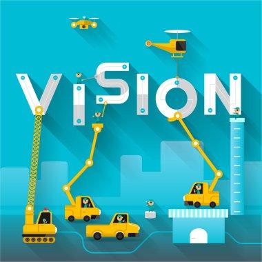 Construction site crane Vision text