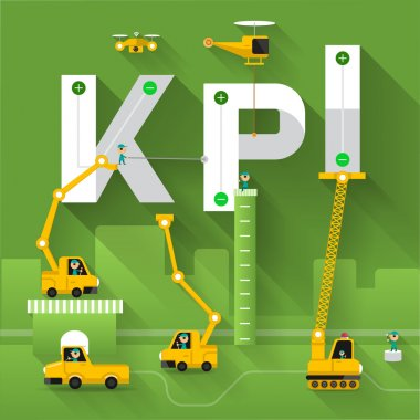 Construction site crane KPI text