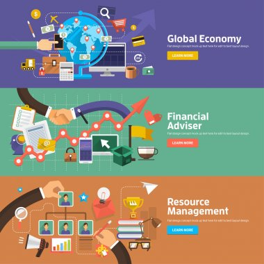 Flat design concepts for Global Economy