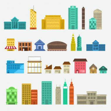 Buildings icons set concept for use to city landscape condominium, houses, towers. Vector flat design clip art vector