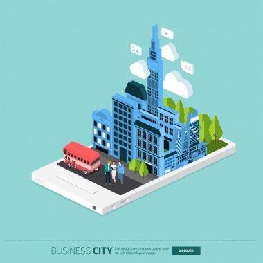 city and businesspeople on mobile phone