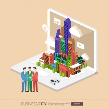 city and businesspeople on laptop