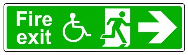 Fire exit Wheelchair access right sign