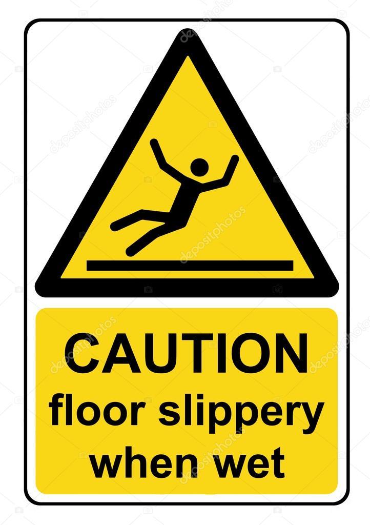 segnale di pericolo giallo attenzione pavimento scivoloso quando bagnato foto stock 106696710