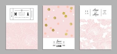 Collection of romantic invitations with gold glitter texture. We