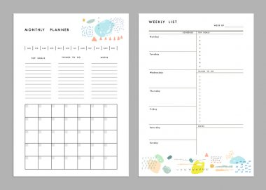 Monthly Planner plus Weekly List Templates.