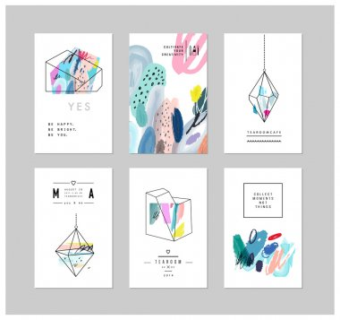 Set of creative cards and posters with geometric outline shapes