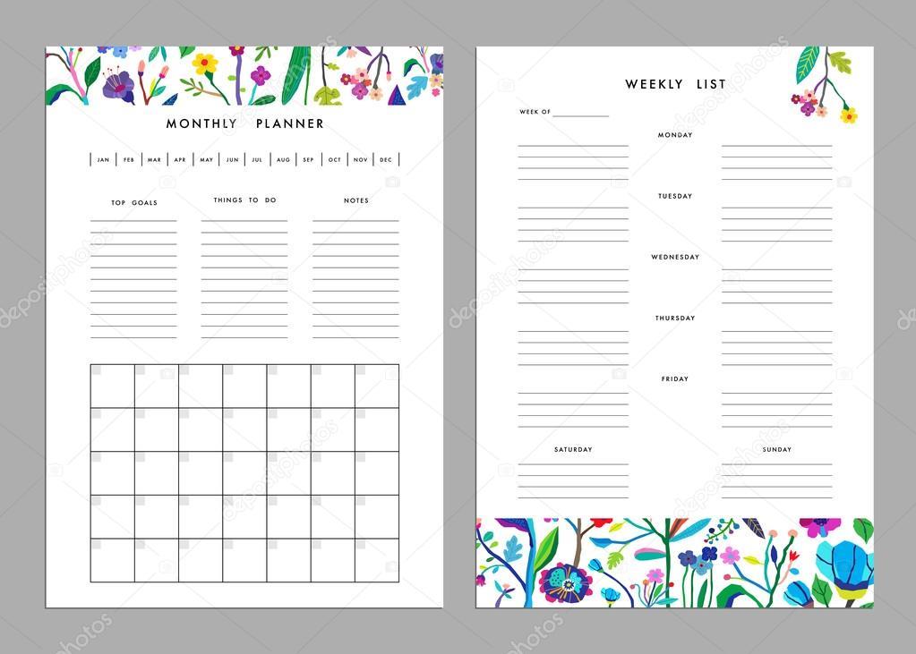 monthly planner plus weekly list templates stock vector leepoo