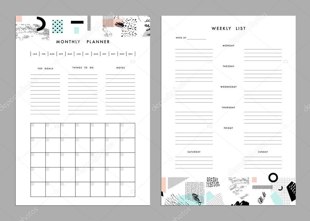 Monthly Planner Plus Weekly List Templates векторное