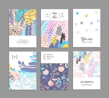 Set of creative universal floral cards with place for your text.