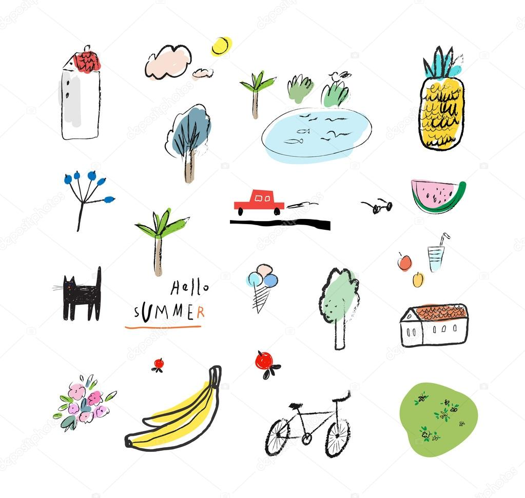 Hand drawn vector illustration set of travel, tourism and summer doodles elements