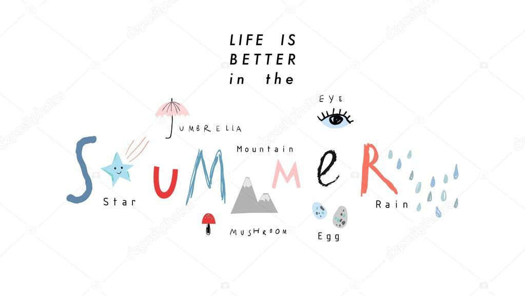 Süße Hand gezeichnete Poster über Sommer. Kreative Vorlagen. Vektor ...