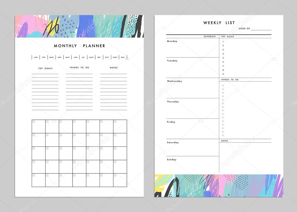 Monthly Planner Plus Weekly List Templates Vector