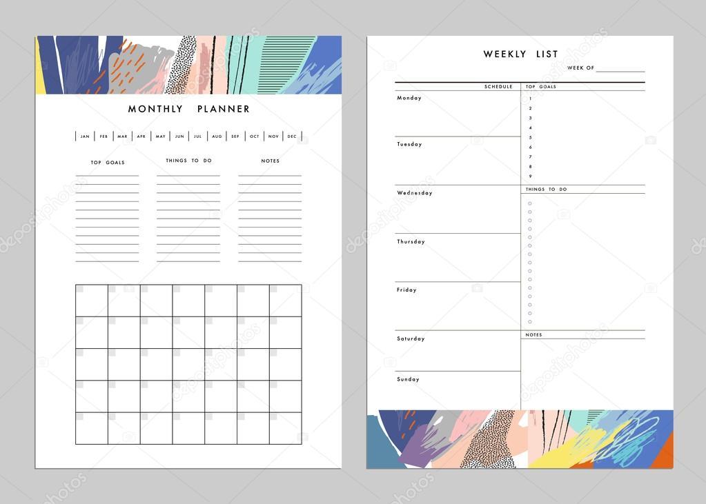 monthly planner plus weekly list templates vector vetores de