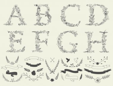 Floral elements of vintage alphabet