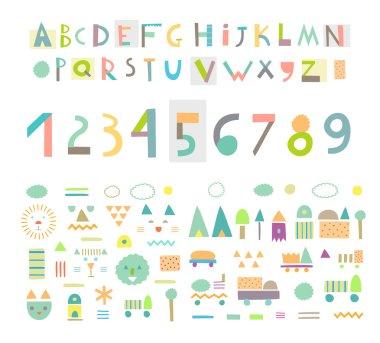 Paper cut alphabet and figures