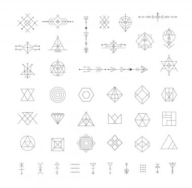 Set of vector trendy geometric icons. Alchemy symbols collection stock vector