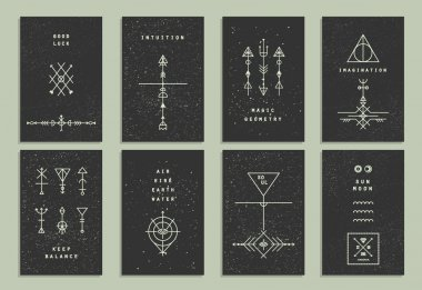 Set of trendy cards with geometric icons