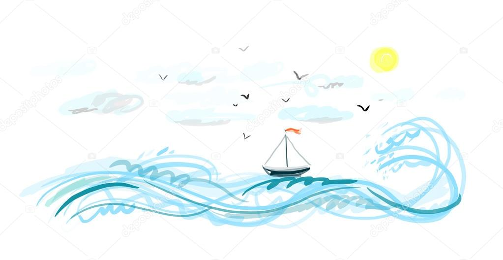 Sketch of a fishing boat in the sea