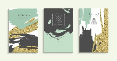 Set of trendy invitations