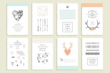 Collection of romantic invitations