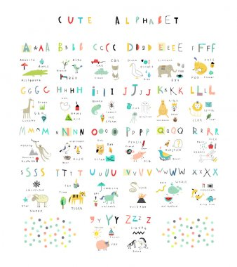 Cute alphabet of Nature. Letters, natural events, flora and fauna stock vector